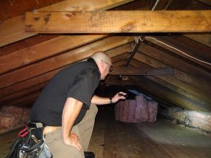 home inspection in the attic