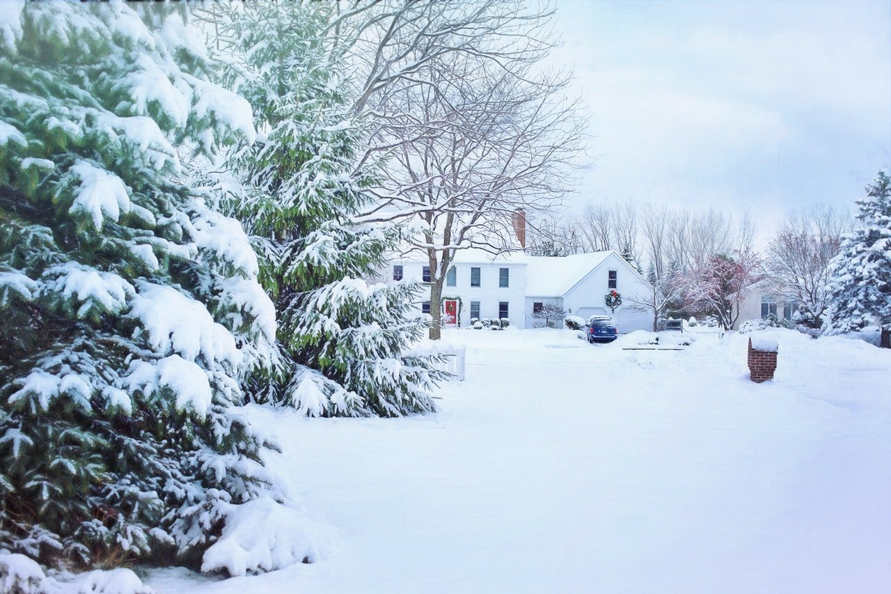snowy home in the winter
